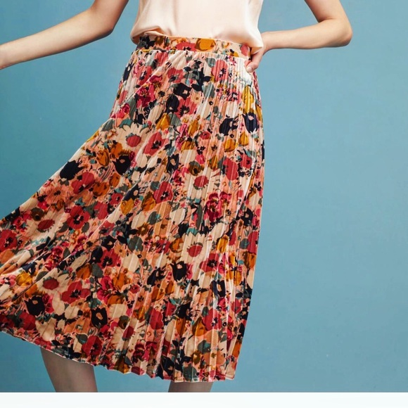 628b7eff4f Anthropologie Skirts | Pleated Floral Velvet Skirt | Poshmark